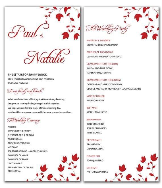 Wedding Program Template Microsoft Word Unavailable Listing On Etsy