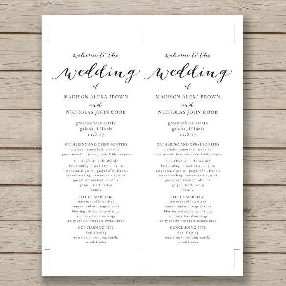 Wedding Program Template Microsoft Word Wedding Program Template – 41 Free Word Pdf Psd