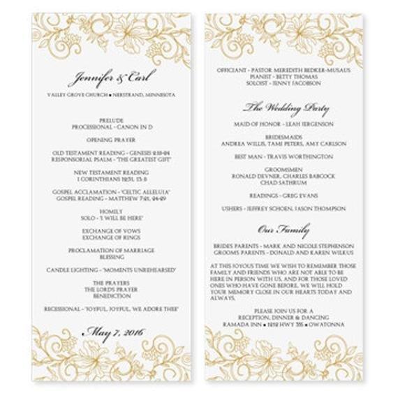 Wedding Program Template Microsoft Word Wedding Program Template Download Instantly by Karmakweddings