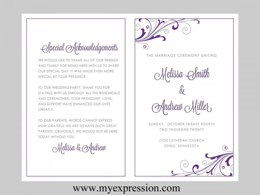 Wedding Program Template Microsoft Word Wedding Program Template – Swirl and Flourish Purple