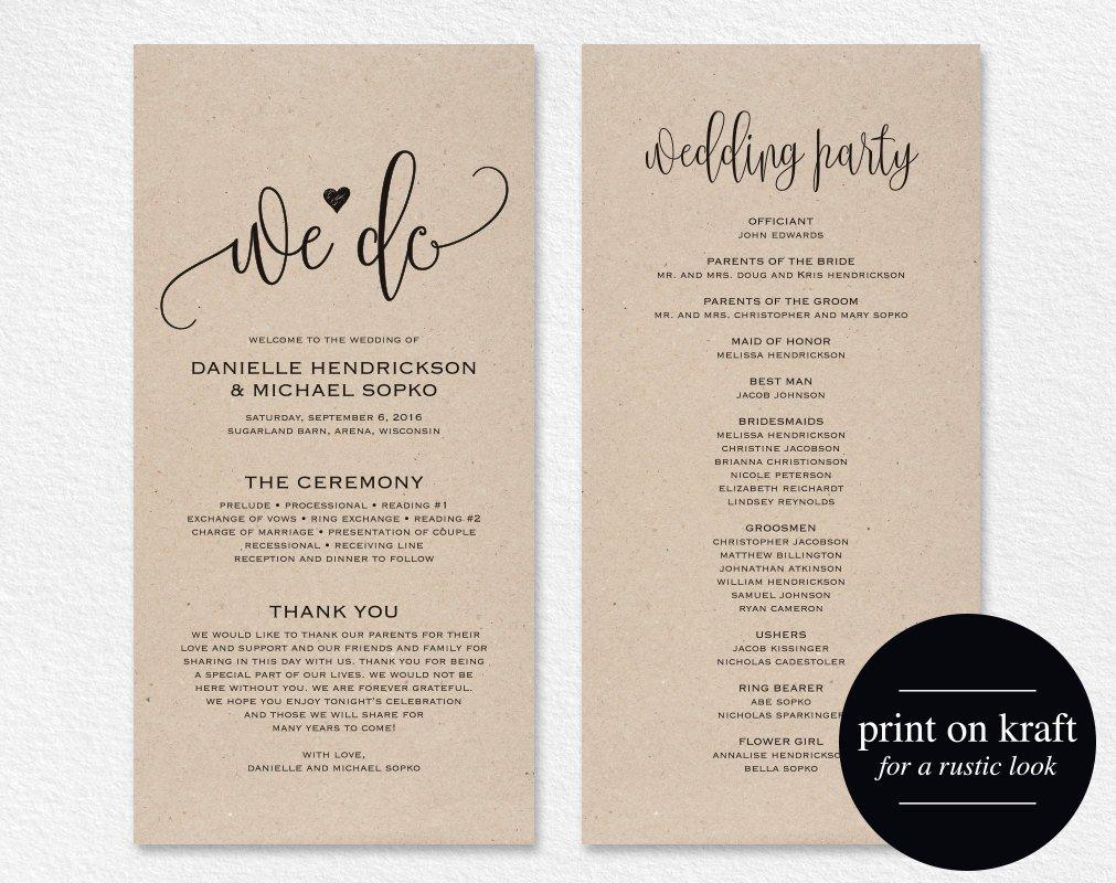 Wedding Program Template Microsoft Word Wedding Program Template Wedding Program Printable We Do