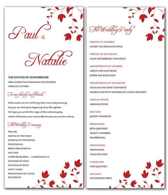 Wedding Program Templates Word Unavailable Listing On Etsy