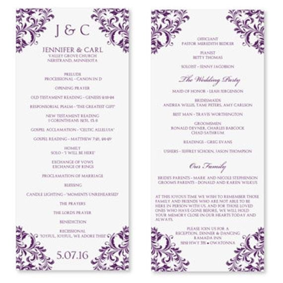 Wedding Program Templates Word Wedding Program Template Instant Download Edit by