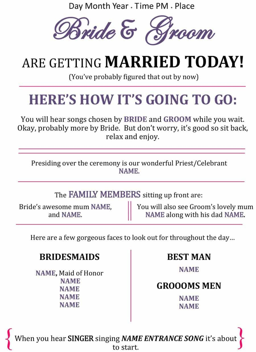 Wedding Programs Free Templates 37 Printable Wedding Program Examples & Templates