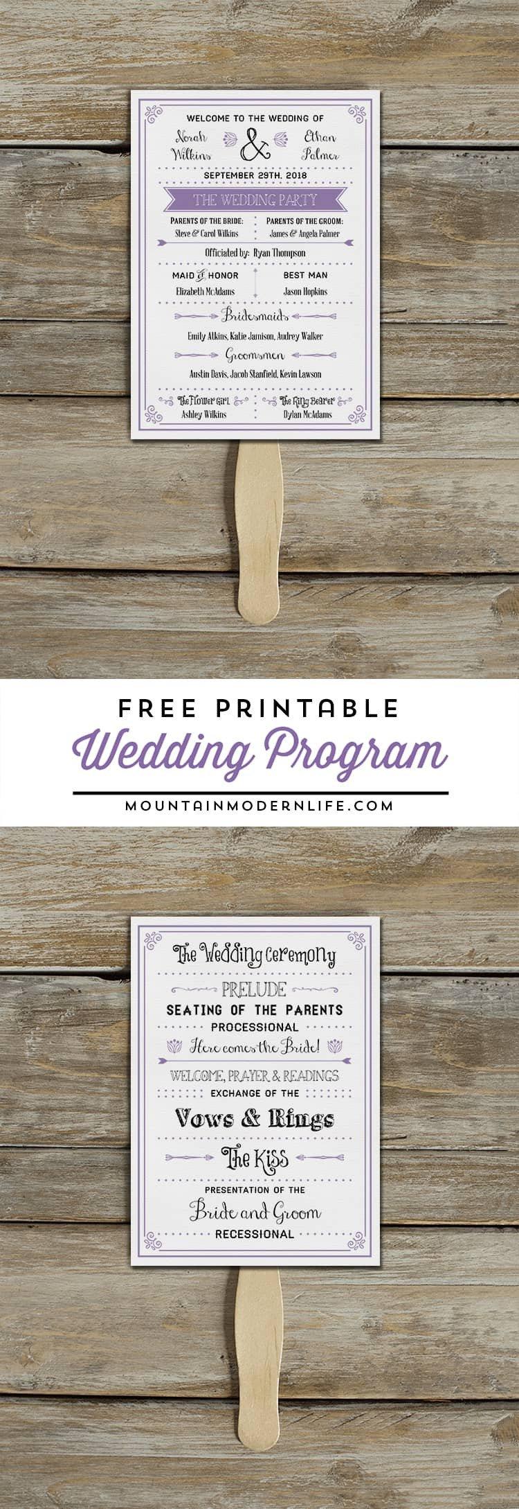 Wedding Programs Free Templates Free Printable Wedding Program