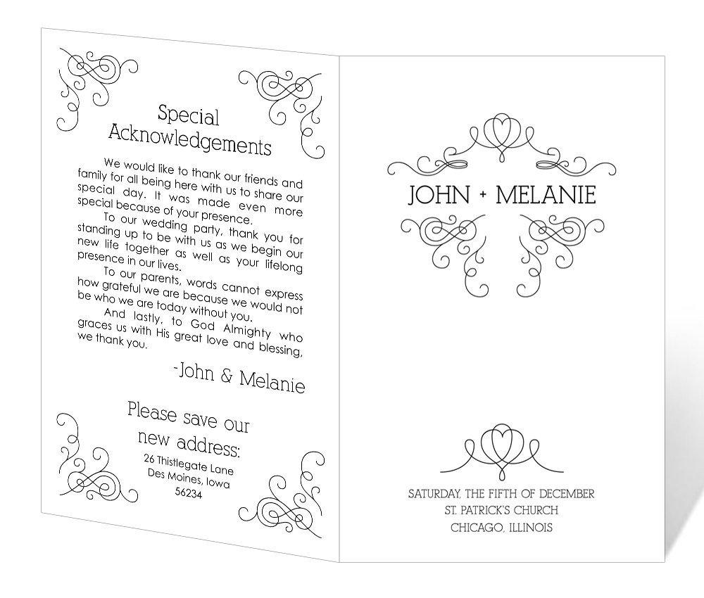 Wedding Programs Free Templates Wedding Program Template Printable Instant Download