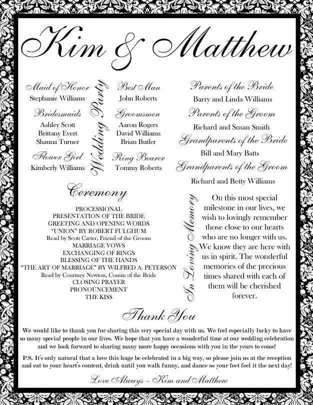 Wedding Reception Program Templates 35 Best Printable Wedding Programs Images On Pinterest