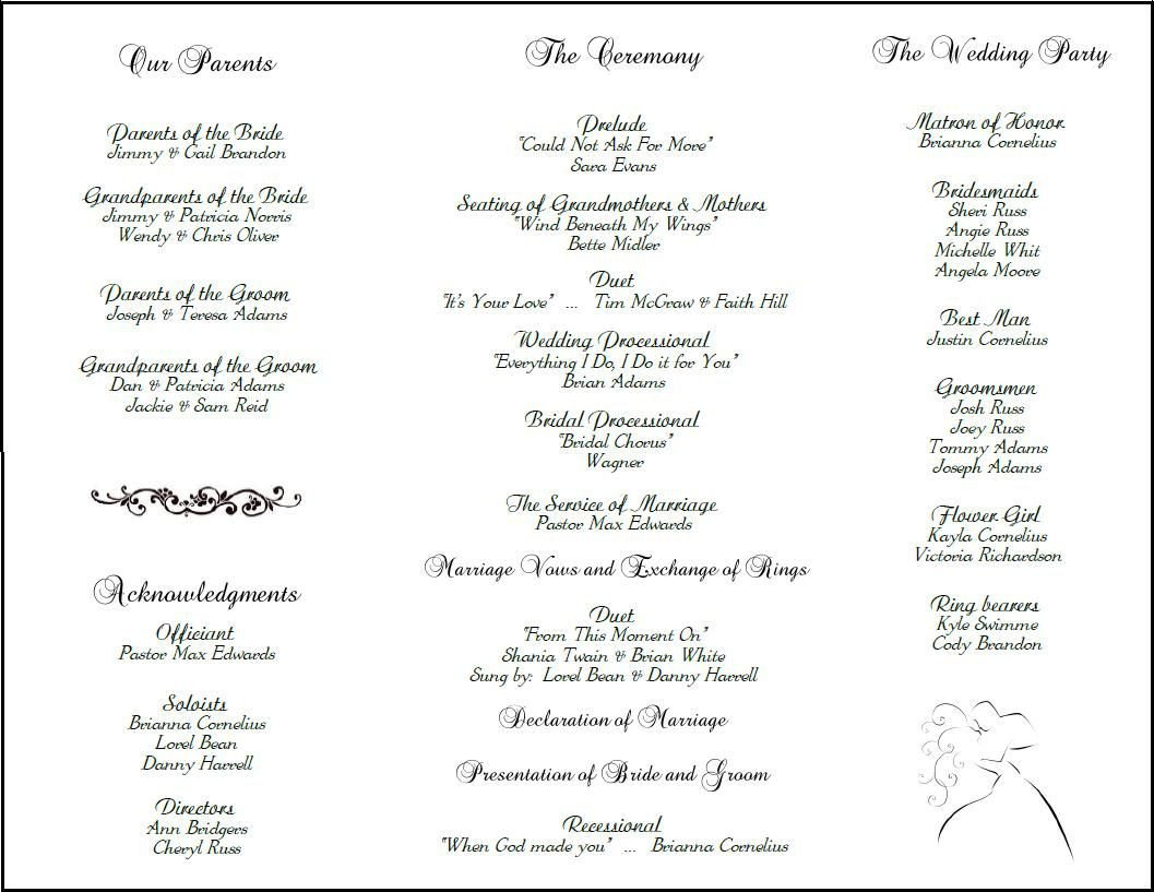 Wedding Reception Program Templates Example Of Wedding Programs