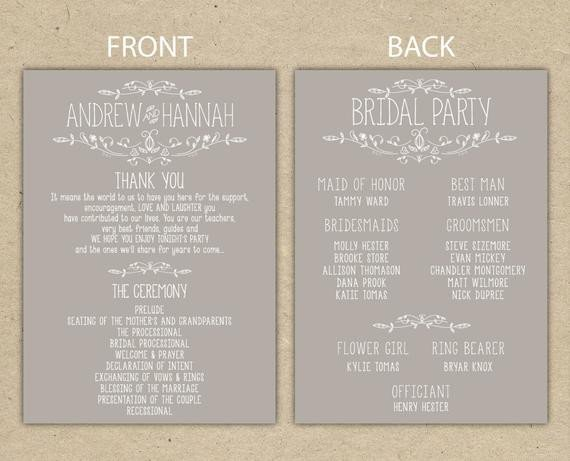 Wedding Reception Program Templates Items Similar to Wedding Program Wedding Reception