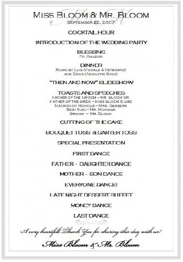 Wedding Reception Program Templates Sample Wedding Reception Program Ceremony