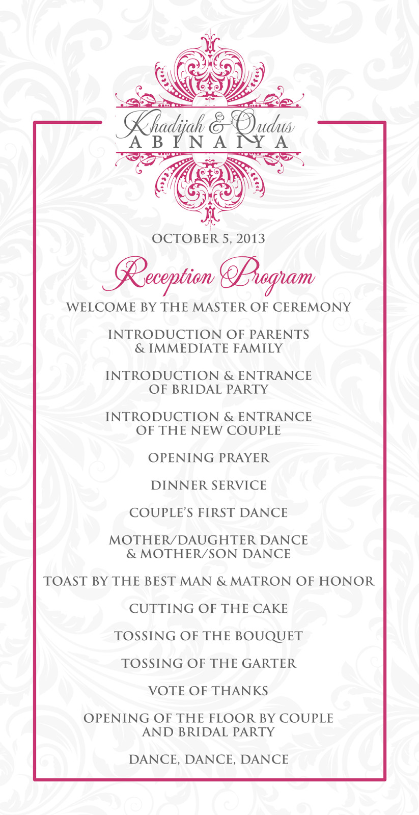 Wedding Reception Program Templates Signatures by Sarah Wedding Stationery for Khadijah
