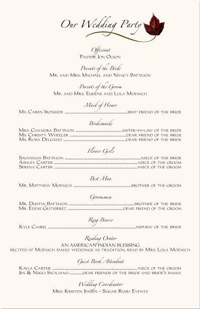 Wedding Reception Program Templates Wedding Ceremony Programs Wording Examples
