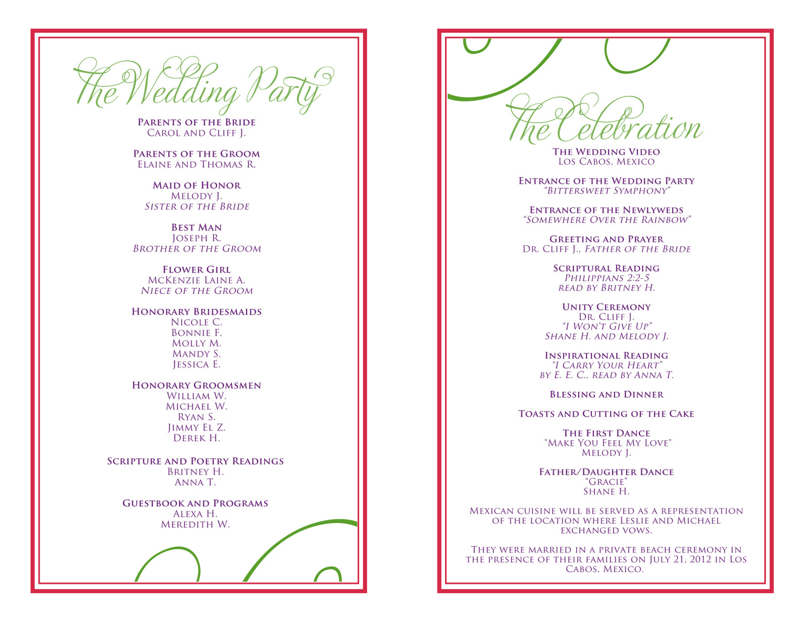 Wedding Reception Program Templates Wedding Itinerary Templates Free