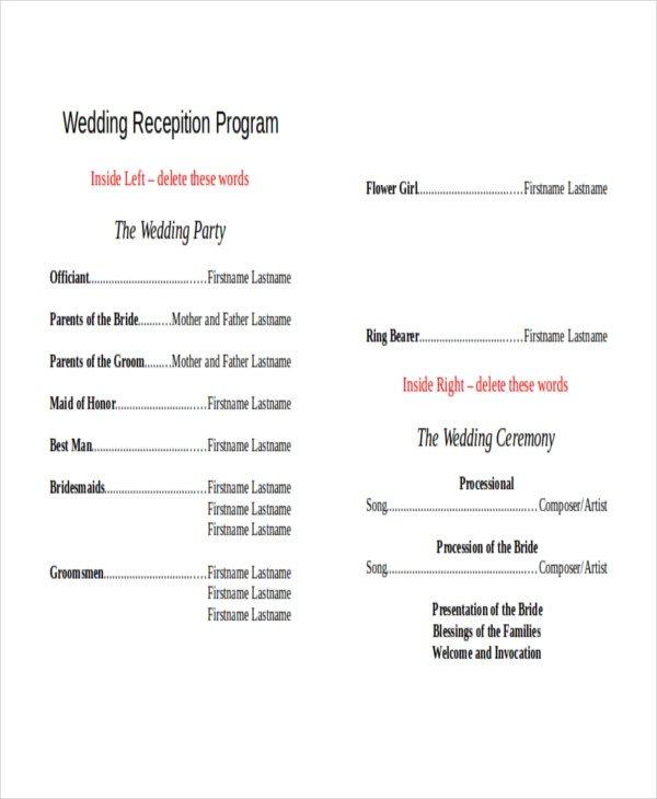 Wedding Reception Programme Template 10 Wedding Program Templates Free Sample Example