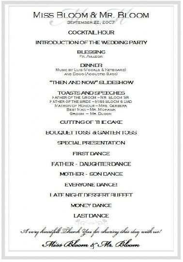 Wedding Reception Programme Template Sample Wedding Reception Program Ceremony