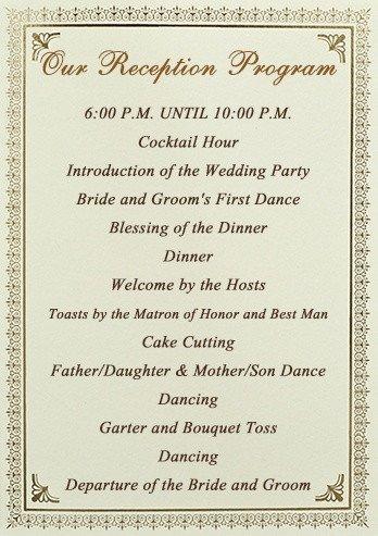 Wedding Reception Programme Template Stationery Checklist for A Wedding