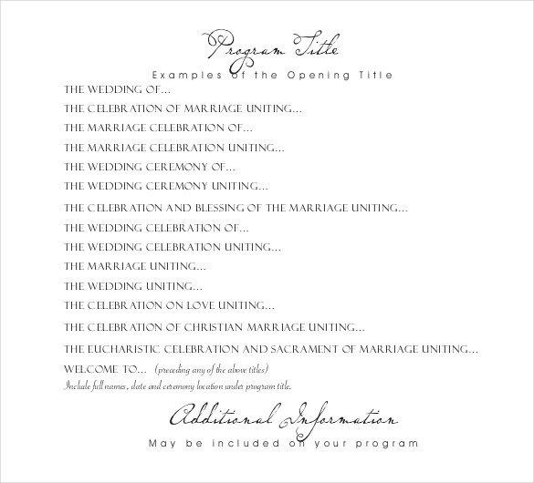Wedding Reception Programme Template Wedding Program Templates – 15 Free Word Pdf Psd