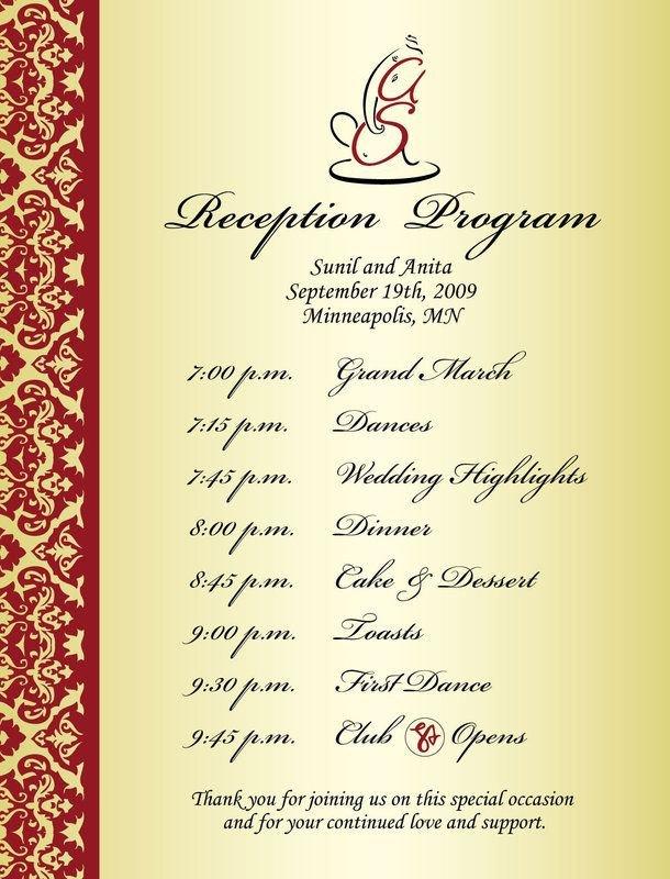 Wedding Reception Programme Template Wedding Reception Program Sample