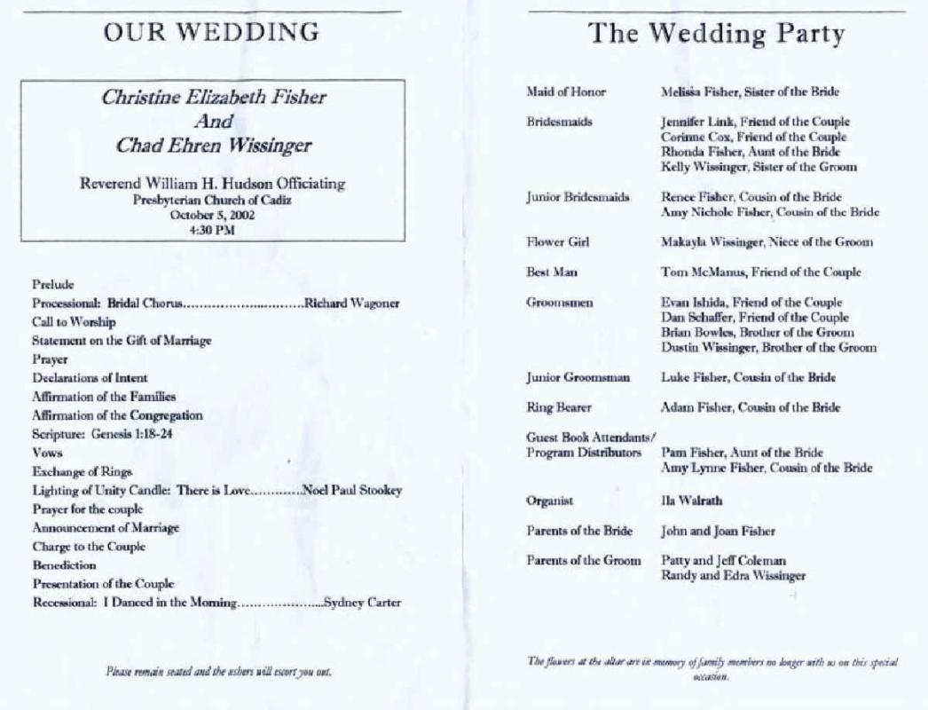 Wedding Reception Programme Template Wedding Reception Program Template