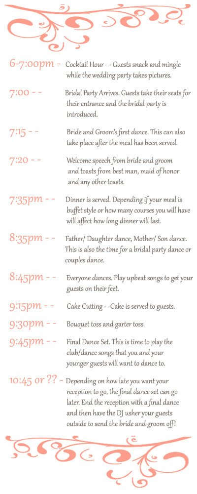 Wedding Reception Timeline Template Stay Time the Big Day Planning Your Wedding