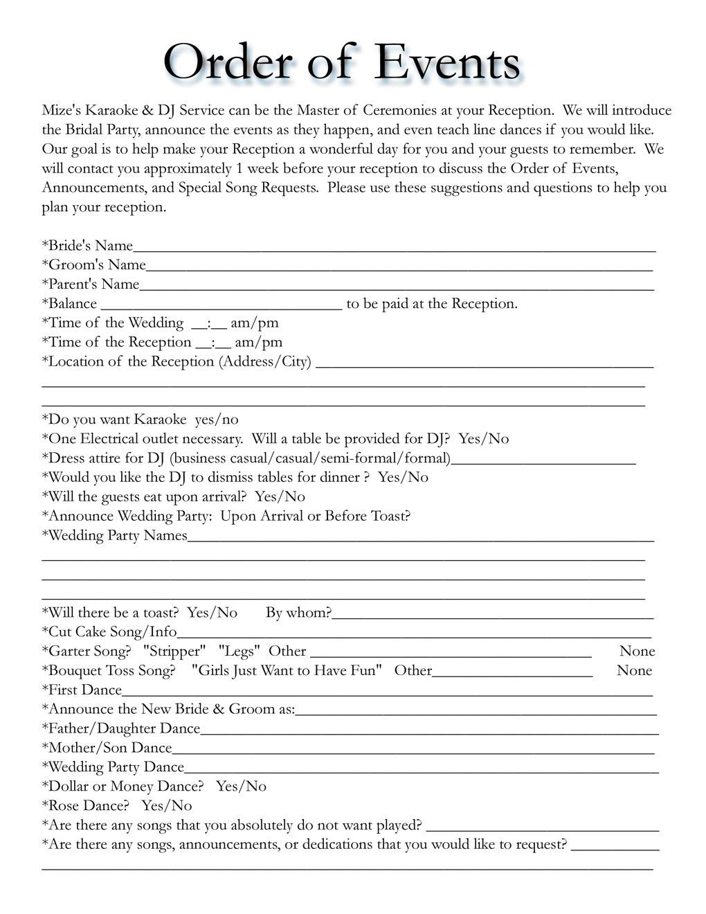 Wedding Reception Timeline Template Wedding Itinerary Templates Free