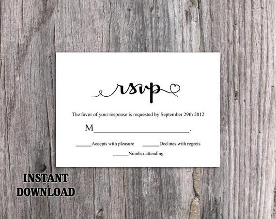 Wedding Rsvp Cards Templates Diy Wedding Rsvp Template Editable Word by thedesignsenchanted
