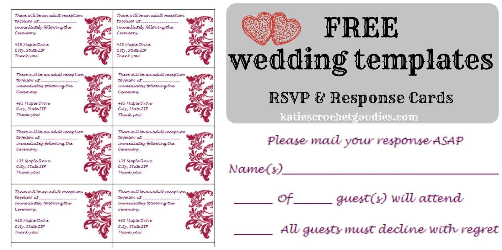 Wedding Rsvp Cards Templates Free Wedding Templates Rsvp & Reception Cards Katie S