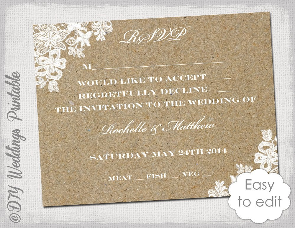 Wedding Rsvp Cards Templates Wedding Rsvp Template Rustic Lace Printable