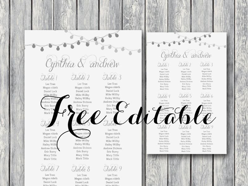Wedding Seating Chart Template Free Night Light Wedding Chart Printable In 2019