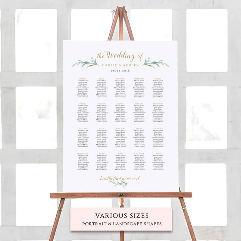 Wedding Seating Chart Template Greenery Wedding Invitations Rustic Wedding Invitations