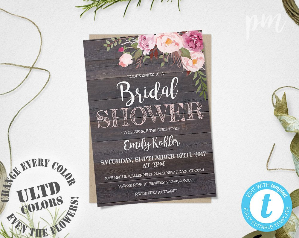 Wedding Shower Invitation Templates Rustic Floral Bridal Shower Invitation Template Printable
