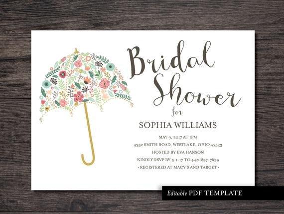 Wedding Shower Invite Templates Umbrella Bridal Shower Invitation Template Bridal by