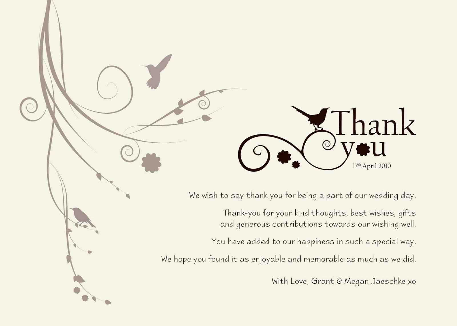 "Damsel Design Wedding ""Thank You"" Cards"