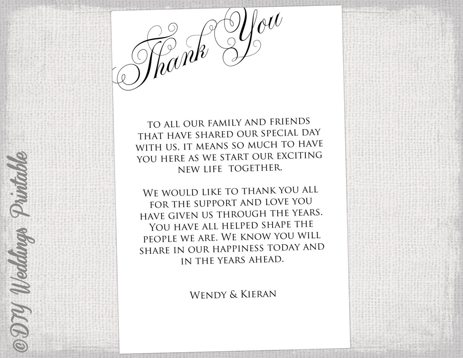 Wedding Thank You Cards Template Printable Thank You Card Template Black & White Wedding Thank