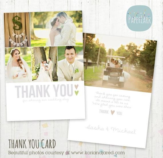 Wedding Thank You Cards Template Wedding Thank You Card Shop Template by Paperlarkdesigns