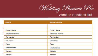 Wedding Vendor List Template Diy Free Wedding Planner Pro Fillable Pdf