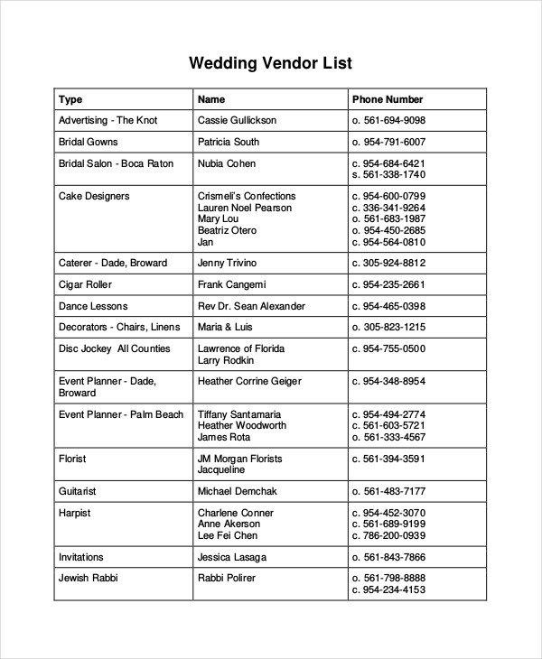 Wedding Vendor List Template Vendor List Template 7 Free Word Pdf Document