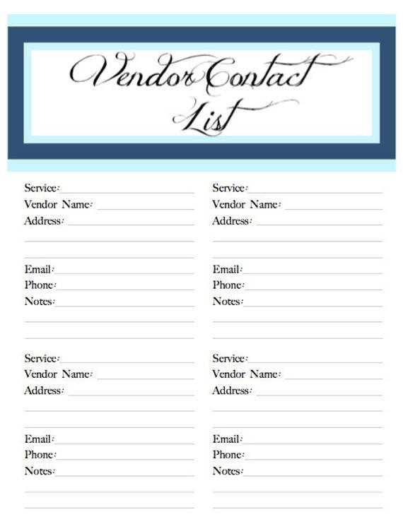 Wedding Vendor List Template Wedding Belle Printable Vendor Contact by Poshsouthernplanners