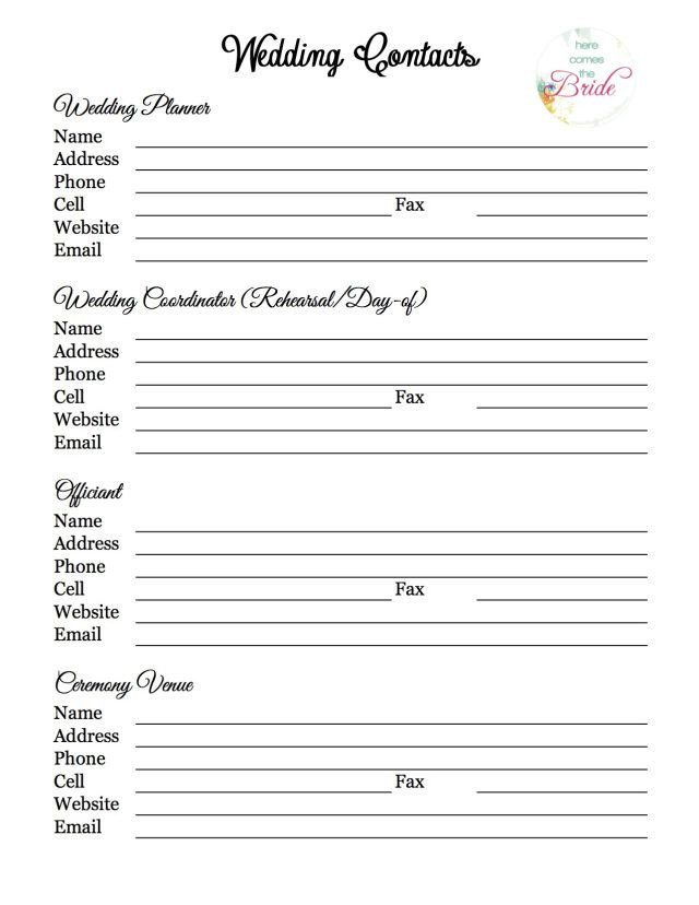 Wedding Vendor List Template Wedding Planning Vendor Contact List