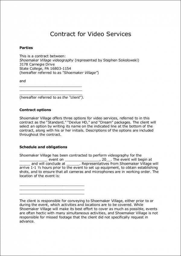 Wedding Videographer Contract Template 6 Videography Contract Templates Word Pages Docs