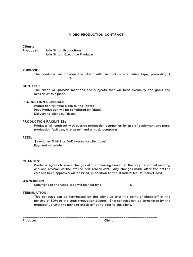 Wedding Videographer Contract Template Freelance Videographer Contract Template