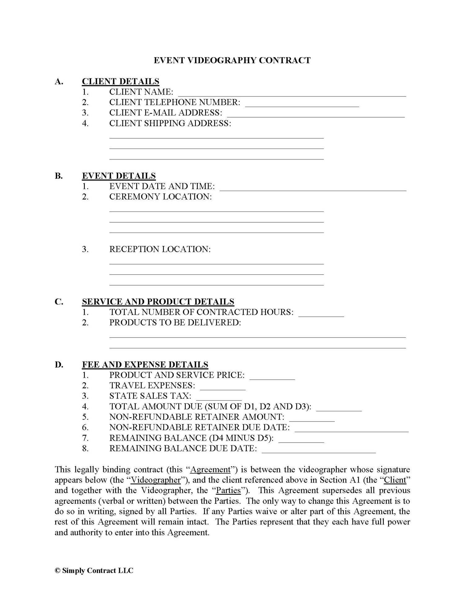 Wedding Videographer Contract Template Video Contract Template