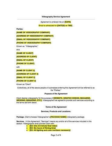 Wedding Videographer Contract Template Videographer Contract Template – the Contract Shop