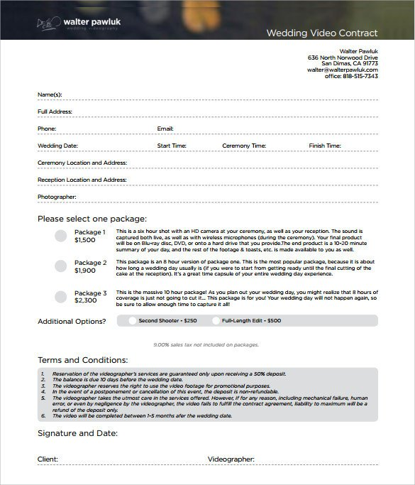 Wedding Videographer Contract Template Videography Contract Template 10 Download Free