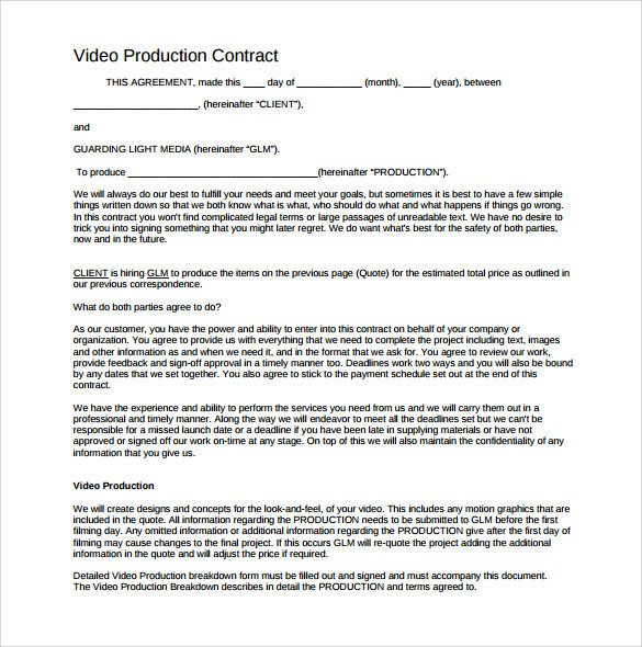 Videography Contract Template 9 Download Documents In
