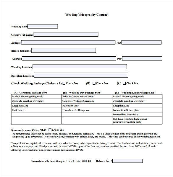 Wedding Videographer Contract Template Videography Contract Template 9 Download Free Documents