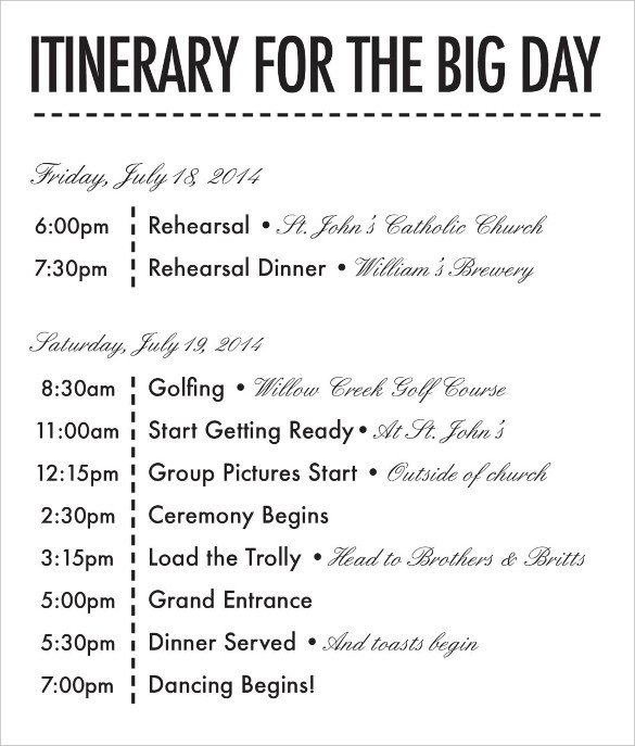 Wedding Weekend Itinerary Template 26 Wedding Itinerary Templates – Free Sample Example