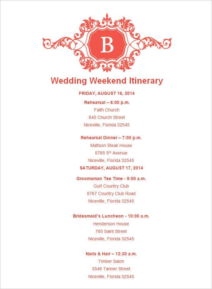 Wedding Weekend Itinerary Template 4 Sample Wedding Weekend Itinerary Templates Doc Pdf