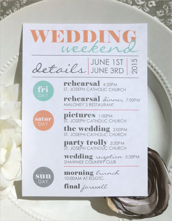 Wedding Weekend Itinerary Template 44 Wedding Itinerary Templates Doc Pdf Psd