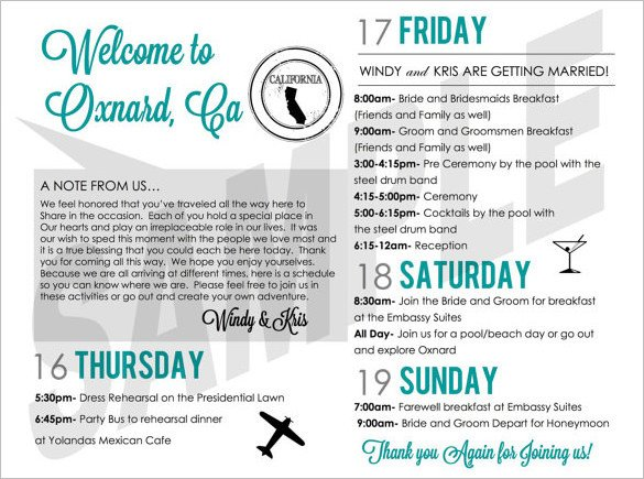Wedding Weekend Itinerary Template 6 Weekend Schedule Templates Doc Pdf